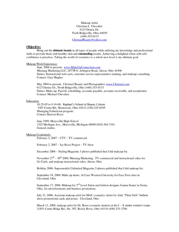 210 best Sample Resumes images on Pinterest Resume examples - cosmetology resume examples