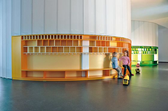 """Hand On"" Modern Childcare Centres - built-in storage/furniture systems. Cubbies and coat hooks"