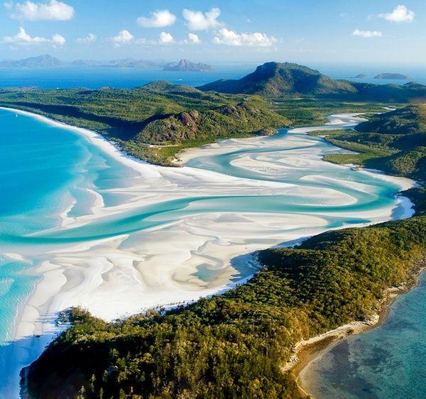 Whitehaven Beach, Australia  Cream-colored swirls of sand and surf.