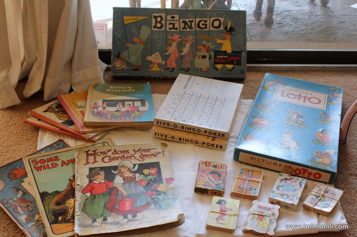 This #fleamarkethaul includes some of the most beautiful vintage children's games and books...I am in love with the graphics! $19 for the lot. Score!