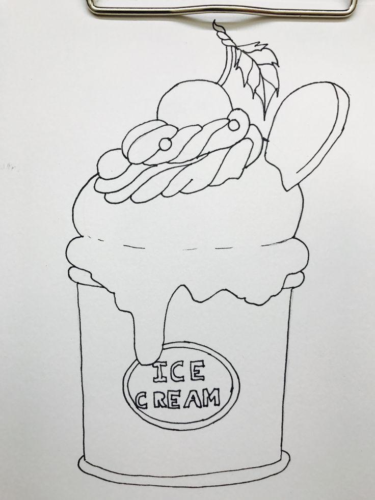 Мороженое Раскраска для маркеров Hand drawn ice cream ...