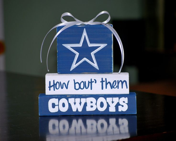 Dallas COWBOYS WoodenBlock shelf sitter stack. $12.00, via Etsy.