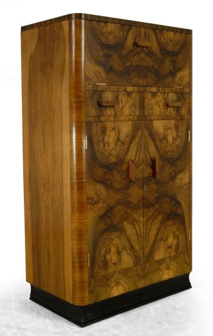 Walnut Art Deco cocktail cabinet