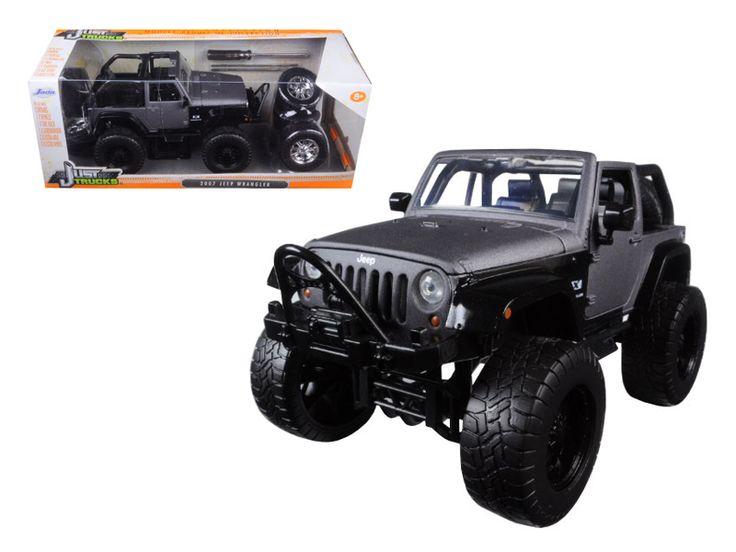 "2007 Jeep Wrangler ""Just Trucks"""" with Extra Wheels Matt Grey 1/24 Diecast Model Car by Jada"""