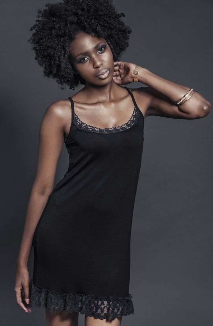 Ladies black viscose slip with lace. For more information visit: https://www.facebook.com/pengellyclothing or https://www.pengelly.co.za