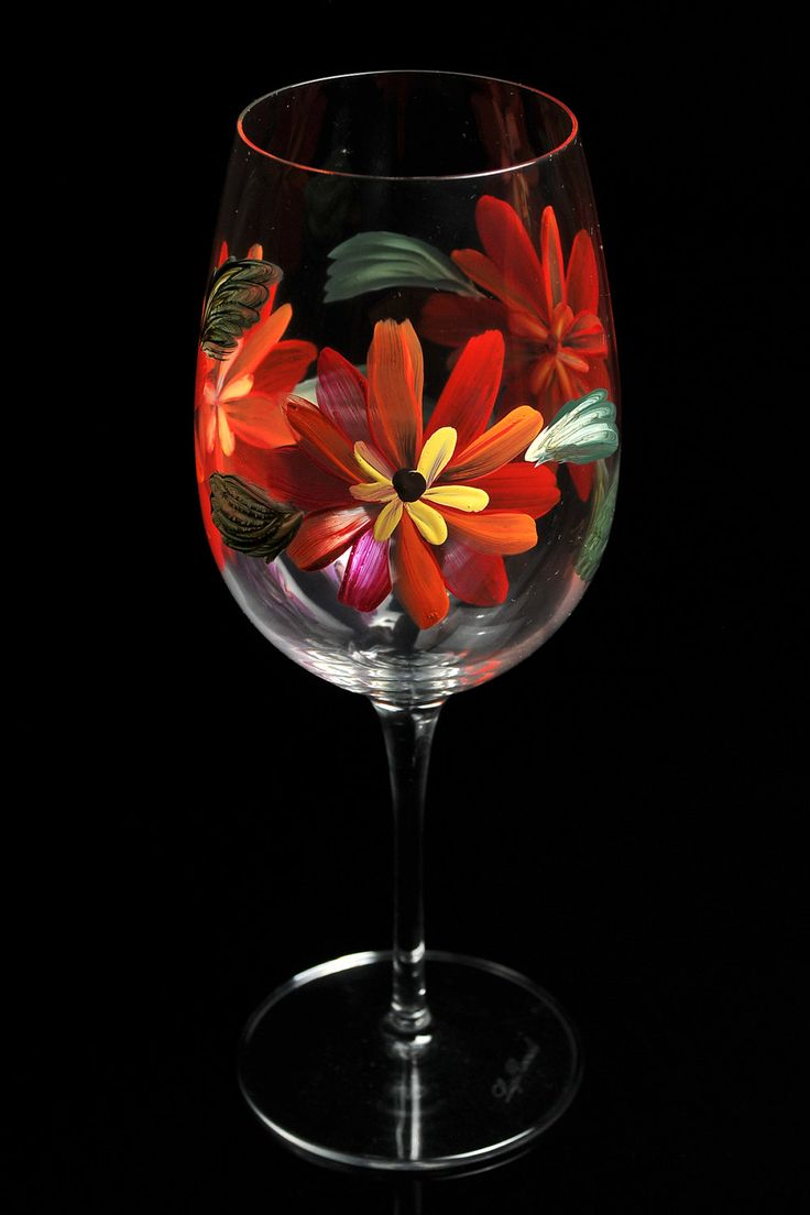 Hand Painted Wine Glasses II 987 best