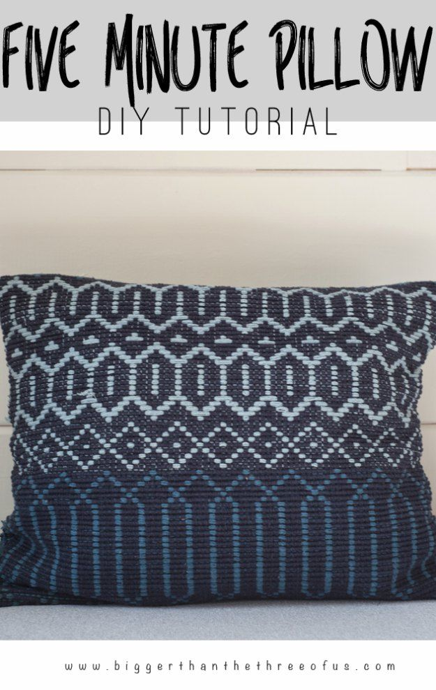 Projetos de costura para a casa - DIY 5 Minute Woven Pillow - grátis Padrões de costura DIY, idéias fáceis e tutoriais para cortinas, estofados, guardanapos, almofadas e Decor http://diyjoy.com/sewing-projects-for-the-home