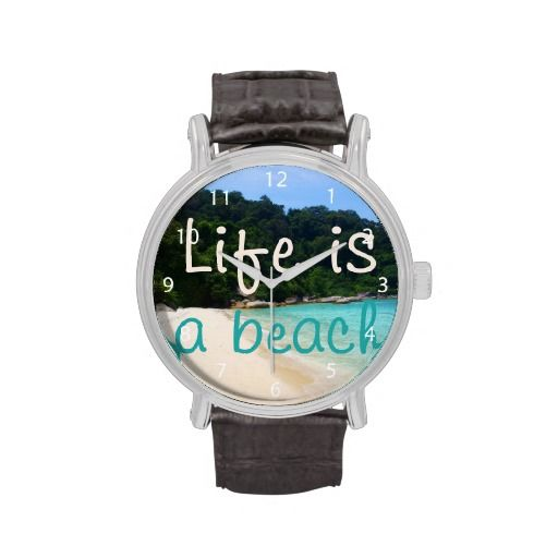 A beautiful white sand beach surrounded by trees. Life is a Beach! / Vintage Leather Strap Wrist Watch #fomadesign