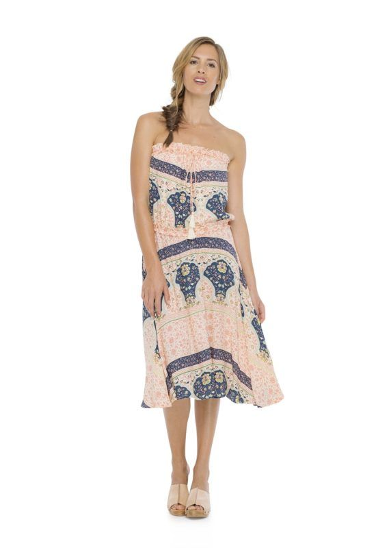 ORPHY STRAPLESS DRESS -- Midi dress with elastic around the waist and the bust for an effortless fit. Vintage print made by hand.