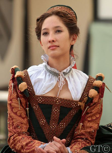 Court gown for Lady Bridget Manners with the Queen's Court of the Southern California Renaissance Pleasure Faire