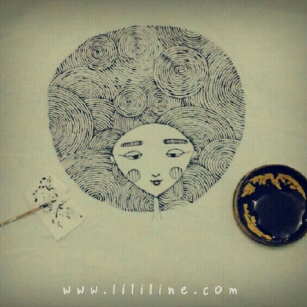 drawing on canvas with toothpick