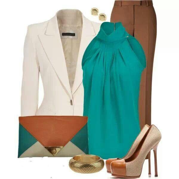 Business attire... nice blazer turquoise top with dressy slacks #bosslady #businessattire