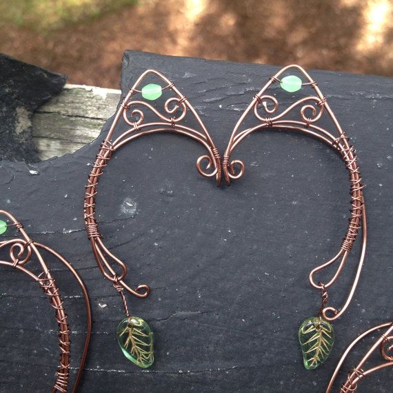 Woodland themed antique copper elf ear cuff with lime green bead and green leaf dangle.  Listing is for individual cuff. No piercing required!