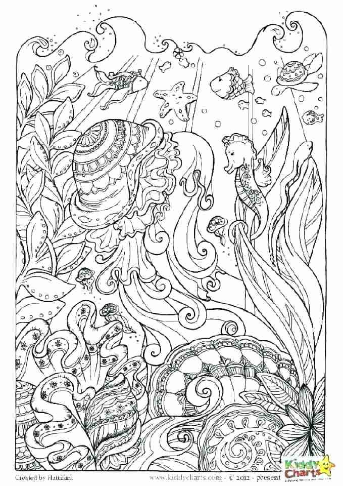 Coloring page for adult colouring book. Underwater background with ... | 960x679