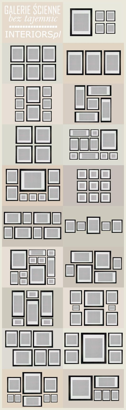 Organize your walls! Different frame arrangements.