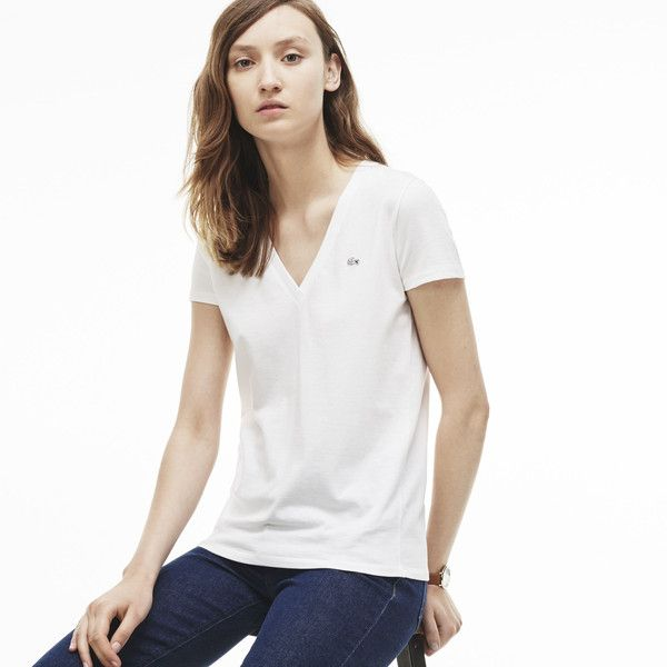 Lacoste Women's Cotton Jersey T-Shirt ($35) ❤ liked on Polyvore featuring tops, t-shirts, white, v neck t shirts, v-neck tee, white v neck t shirt, v-neck tops and white top