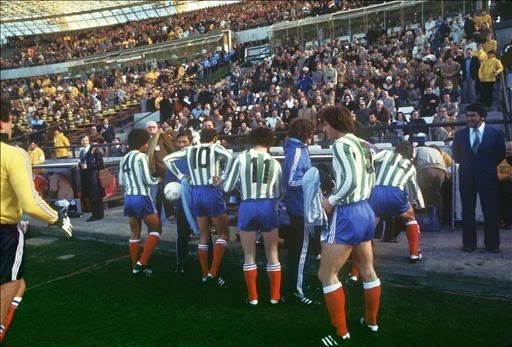 France wearing green and white shirts (borrowed from Club Atlético Kimberley) in their 1978 World Cup match against Hungary.