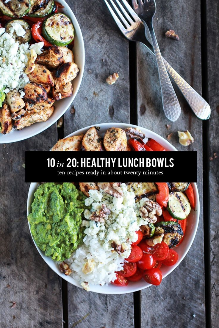 10 in 20: Healthy Lunch Bowls #theeverygirl. Great ideas for healthy dinners too!