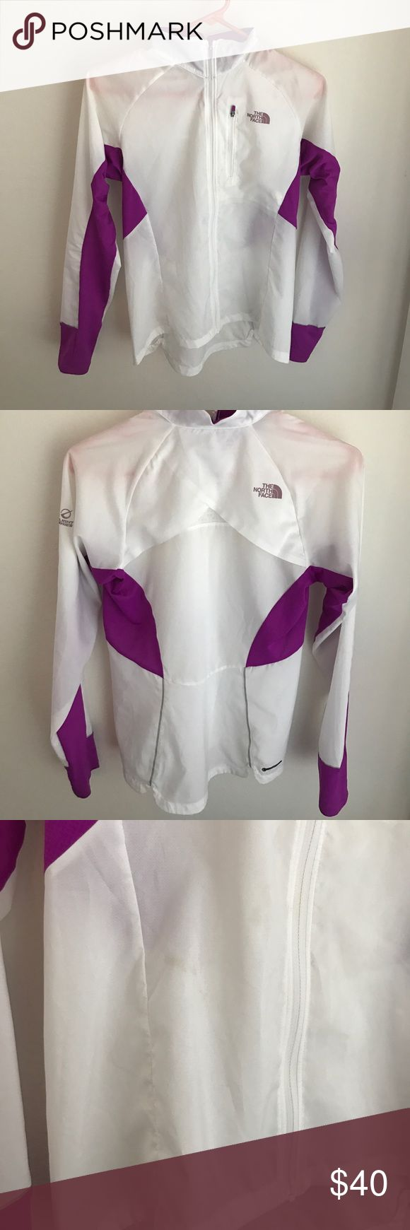 Northface women's running top XS North Face Womens XS, purple and white running jacket. Lightly worn - only about 5x. Does have some light stains on the front in full transparency, see pics North Face Jackets & Coats Utility Jackets