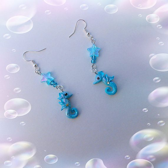 Seahorse polymer clayearrings