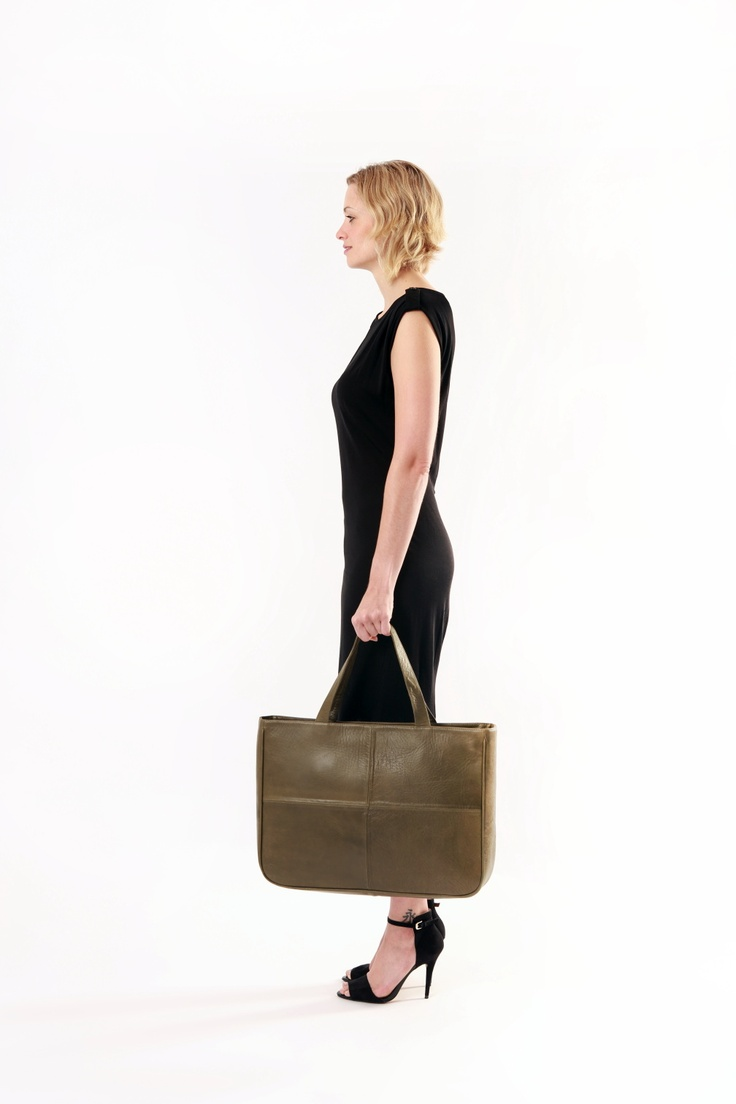 Leather Bag. Cross City in Olive by apostrophe' studio