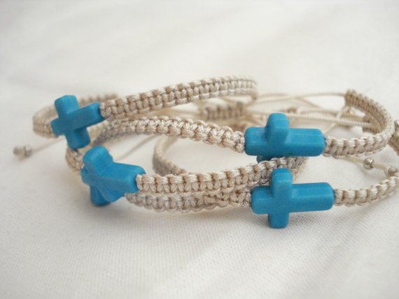 Minimalist turquoise sideways cross bracelets. Wonderful bracelets with acrylic cross in turquoise, macramé (handwoven with this ancient art of knots) with a high quality satin cord in ivory. The size of the cross is 18x10mm. It is the most common basic color for a baby boy but you can offer it for a baby girl too, as baptism favors for all. These absolutely gorgeous favors you may offer to the people who are invited to your childs baptism. It is a traditional gift that you make to all of…