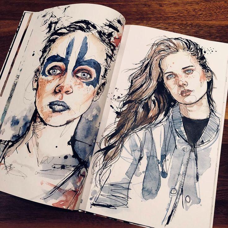 """12,3 mil Me gusta, 58 Kommentare – Dominic Beyeler (Dominic Beyeler) und Instagram: """"Eine weitere Doppelseite aus meinem Artbook … #Portrait #Portraitsketch …"""