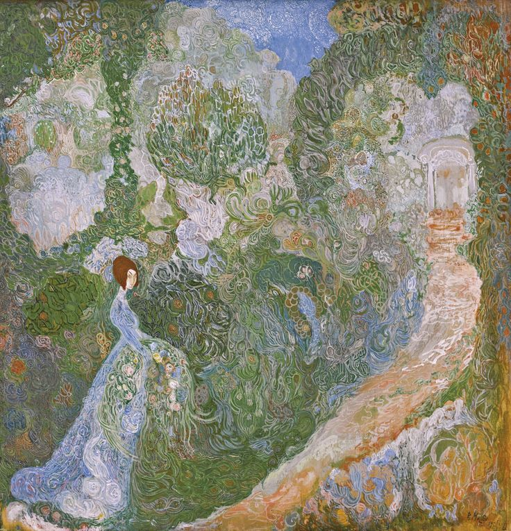 Young Woman in a garden, 1905, Vasily Dmitrievich Milioti. Russian (1875 - 1943)  - Tempera on Panel -