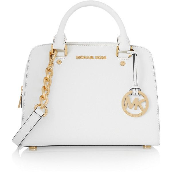 MICHAEL Michael Kors Textured-leather tote found on Polyvore featuring bags, handbags, tote bags, white, white tote, zippered tote bag, white purse, zip tote and michael michael kors purse