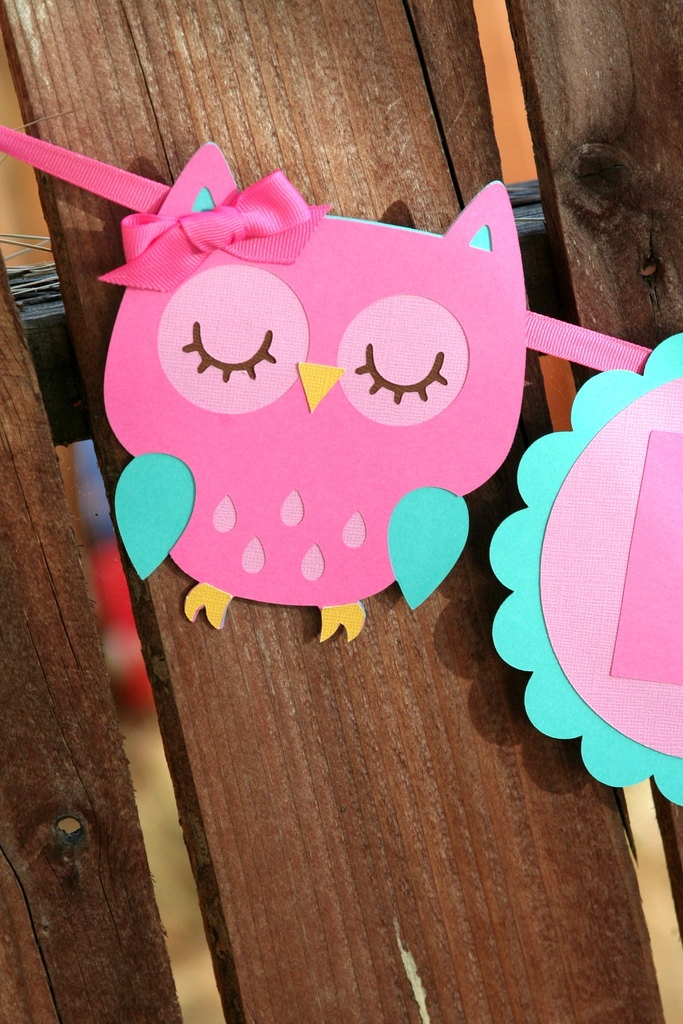 Pink Owl Happy Birthday Banner Forest Friends Birthday Party