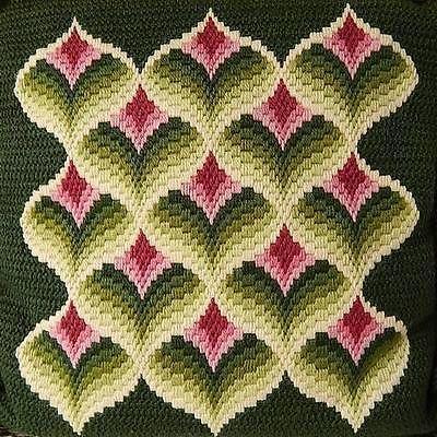 Beautiful Bargello Pillow Vintage with Excellent Craftmanship Purple Green | eBay