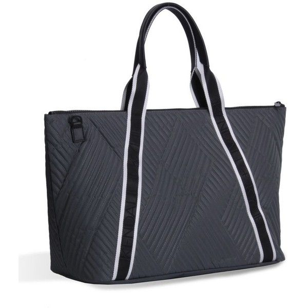 Women's Kendall + Kylie Jane Quilted Nylon Tote (1,325 CNY) ❤ liked on Polyvore featuring bags, handbags, tote bags, smokey grey, stripe tote bag, tote handbags, structured tote, grey tote bag and striped tote