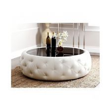 Leather Round Coffee Table Ottoman with Glass Top White Unique NEW!