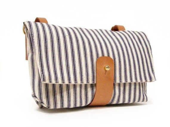 Death and Texas Handlebar Bag in Blue and White Striped Ticking by DNTX on Etsy, $95.00