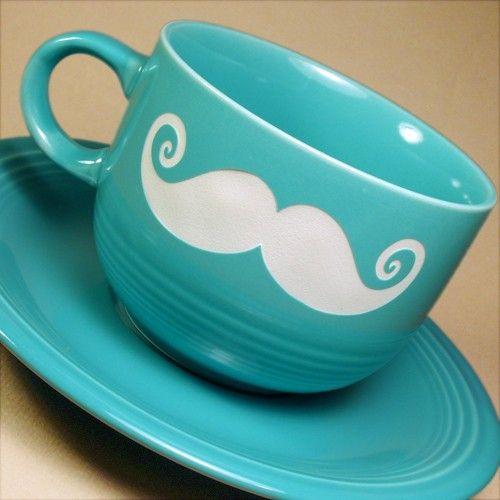 Blue Mustache Tea Cup
