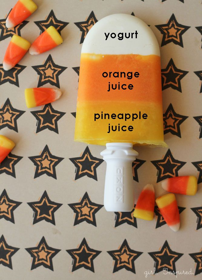 Candy Corn Popsicles: Halloween Parties, Healthy Schools Snacks, Healthy Halloween, Candy Corn, Candies Corn, Candycorn, Corn Popsicles, Summer Treats, Healthy Treats
