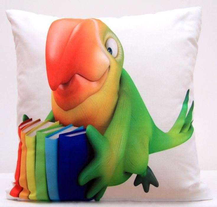 Povlaky na polštář s motivem zeleného papouška s barevnými knížkami