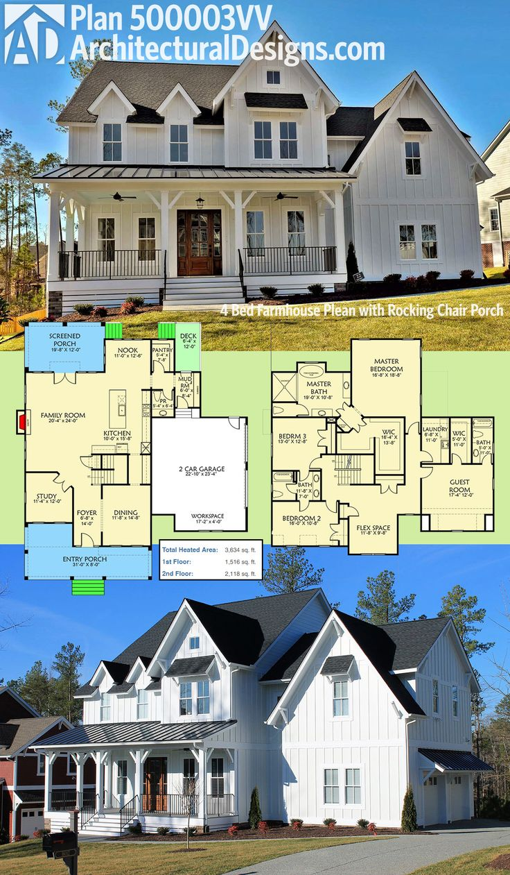 "Architectural Designs Modern Farmhouse Plan 500003VV has a front porch that just screams ""put my rocking chair on it"". All 4 beds are upstairs, leaving the downstairs for family fun and entertaining. The oversized screened porch in back is a plus. Over 3,"