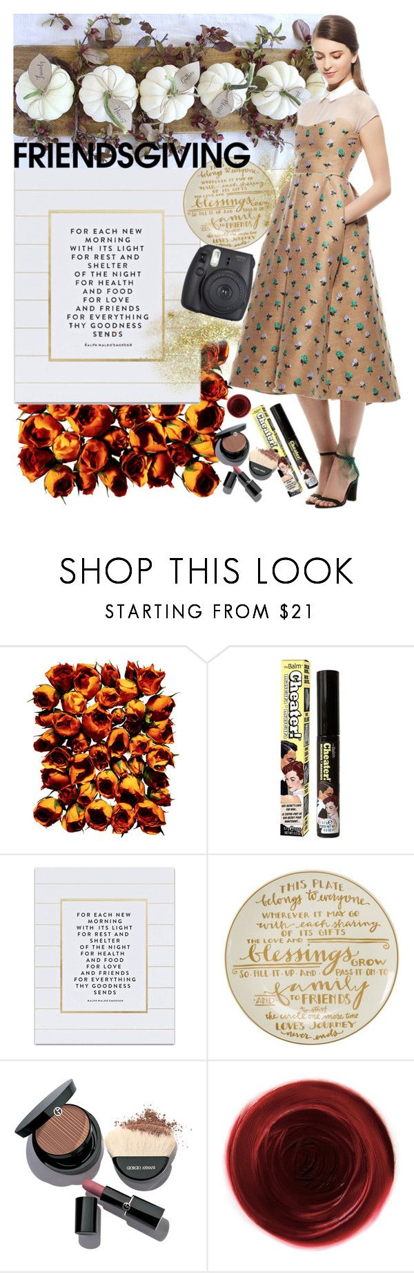 """""""Friendsgiving"""" by earthangell on Polyvore featuring Giorgio Armani, TheBalm, SS Print Shop, Primitives By Kathy, Rituel de Fille and Fujifilm"""