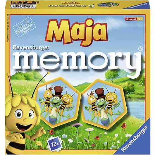 Biene Maja memory® von Ravensburger.<br /> <br /> Auf 72 wabenförmigen Bildkarten nimmt die kleine Biene Maja die Spieler mit auf ihre geliebte Klatschmohnwiese und stellt deren krabbelige Bewohner vor. Wer sich am besten merkt, wo sich die passenden Kartenpaare mit Majas bestem Freund Willi, dem lustigen Grashüpfer Flip, der schönen Schmetterlingsdame Beatrice oder der gemeinen Spinne Thekla befinden, gewinnt!  <br /> <br /> Inhalt: 72 wabenförmige...