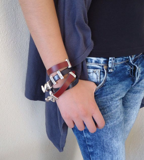 Leather brown bracelets with metal  charm by PopisBOUTIQUE on Etsy