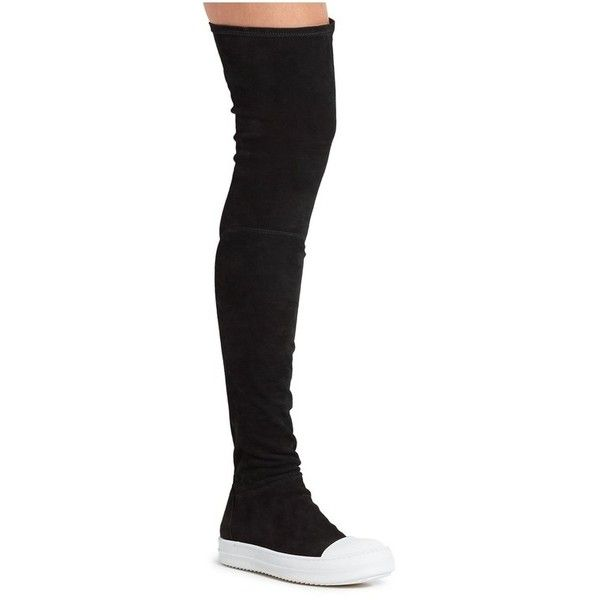 Rick Owens Over-The-Knee Suede Sock Boots (€1.920) ❤ liked on Polyvore featuring shoes, boots, black, over-the-knee, over-knee boots, over-the-knee suede boots, rick owens, black boots and suede leather boots