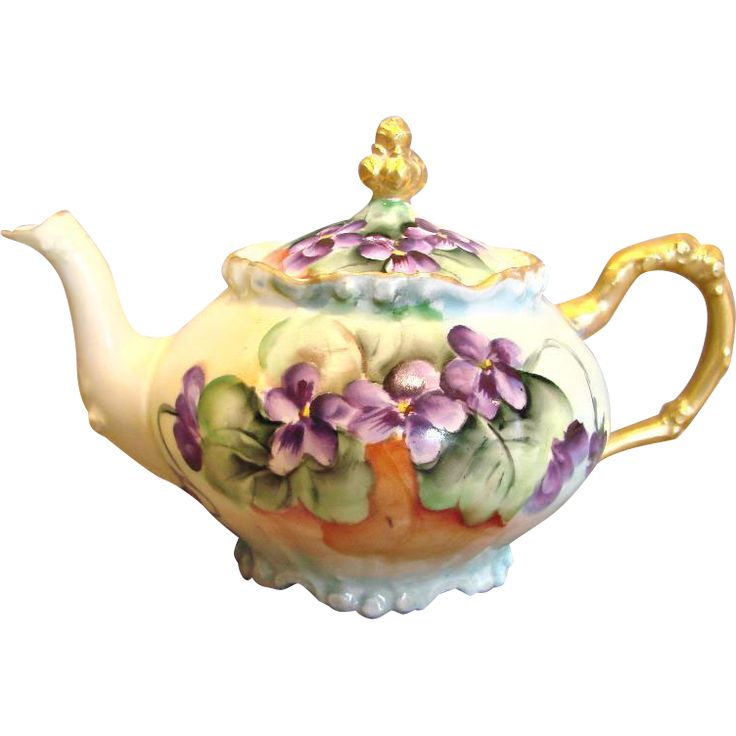 Vintage French Limoges Demitasse Teapot Hand Painted Violets c 1891 - 1932 - Hand painted hard paste porcelain tea for one teapot tea pot
