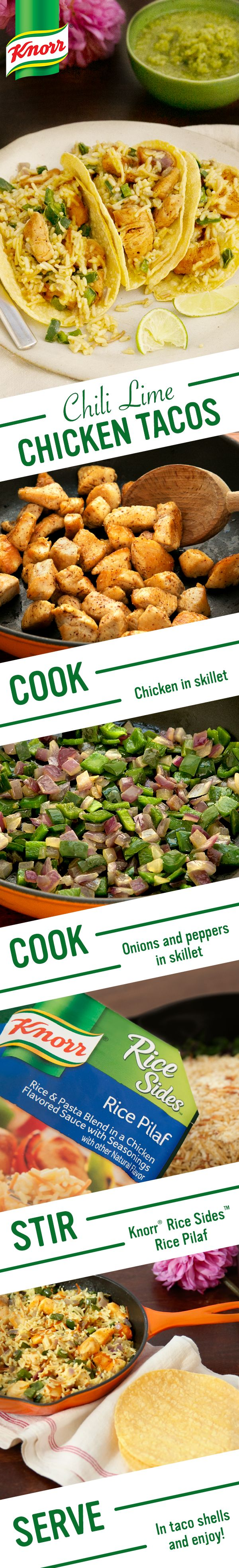 Take your family on a dinner trip inspired by the flavors of Mexico from the comfort of your home cocina. Make Knorr's Chili Lime Chicken & Rice Tacos as an easy & delicioso one skillet meal tonight: 1. Cook chicken 2. Add pepper & onion 3. Stir in Knorr® Rice Sides™ - Rice Pilaf. Serve w/ corn tortillas or taco shells, sour cream, lime wedges, & salsa verde. Enjoy!