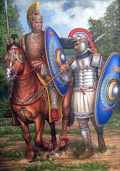 """""""Jinete y soldado de la cohorte mixta  «Cohors II Aquitanorum equitata civium Romanorum»"""", Ángel García Pinto"""