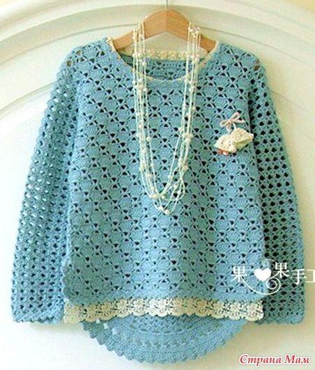 . Очаровательный пуловер для девочки. - Все в ажуре... (вязание крючком)…