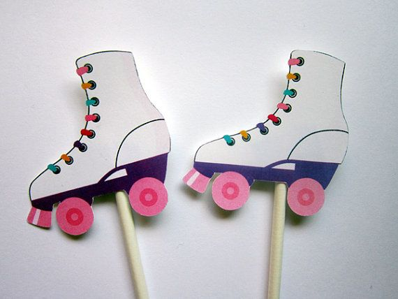 This listing is for (12) Roller Skate Cupcake Toppers. These cute Cupcake Toppers will look so cute on your cupcakes.