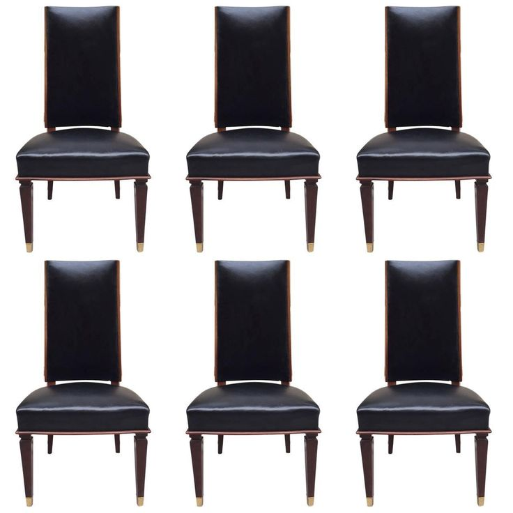 Six Leather Dining Chairs Style Andre Arbus