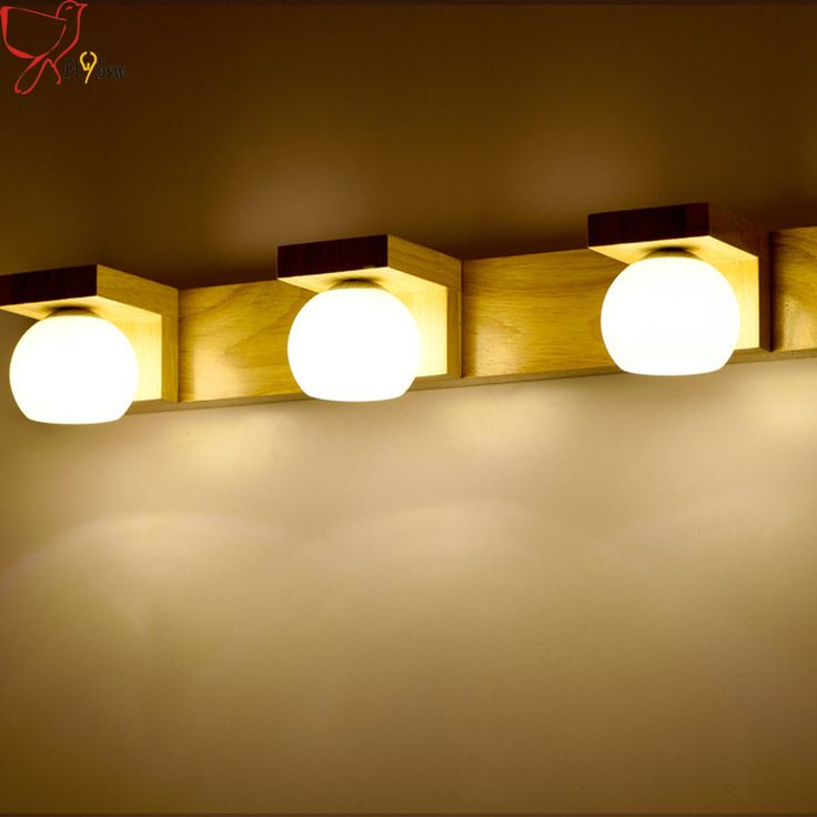 Cheap wall lamp for bathroom, Buy Quality led wall lamp directly from China lamp for bathroom Suppliers: Vintage Creative wooden wall sconces 2/3 heads glass lampshade G4 led wall lamp for bathroom bedroom Mirror front light fixture