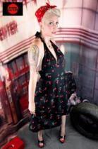 Shock Culture Cherry Print Halter Neck Dress 50s Pinup